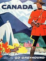ART PRINT POSTER TRAVEL BUS COACH MOUNTIE MOOSE GOAT CANADA NOFL1305