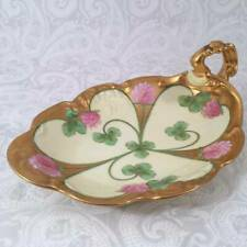 Limoges Hand Painted Shamrock Clover St Patricks Handle Nappy Candy Dish Tray