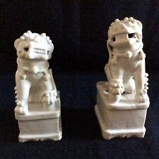 More details for pair of antique c19 ceramic blanc de chine oriental foo dogs