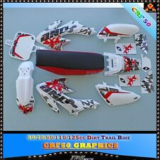 CRF50 WHITE PLASTIC + SEAT + Graphics STICKER DIRT/PIT BIKE 50/70/90/110/125CC