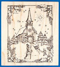 PSX Christmas Eve Church Rubber Stamp K-2343 Victorian Holiday Scene Snow Winter