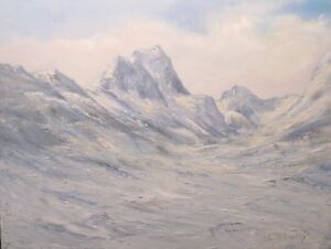 Norway Winter 9x12 original oil painting by Celene Farris. Mountains, snow, ice