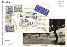 L76 1942 SPAIN WW2 AIRMAIL Multiple Censored 5 Marks *Canadell* Postcard Germany