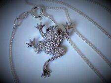 Damen o Kinder Collier Frosch Anhänger + Halskette 925 Sterling Silber Zirkonia