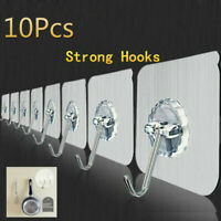 10Pc Wall Hooks No Nail Adhesive Heavy Duty Sticky Bath Towel Ceiling Hangers