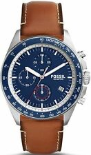 Men's Fossil Sport 54 Chronograph Brown Leather Strap Watch CH3039