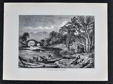 1878 Picturesque Europe Print  Old Weir Bridge Killarney Ireland Boats Scenic