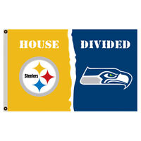 Pittsburgh Steelers vs Seattle Seahawks House Divided Flag 3x5 ft NFL  Banner