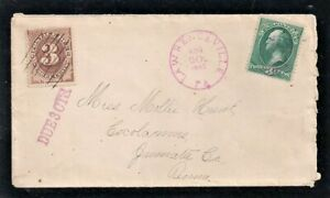 Aug 20 1883 J3 3c Postage Due On Cover Lawrenceville Pa To Cocolamine Pa (AP32)