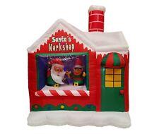 Christmas LED Inflatable Air Blown Yard Art Decoration Santa Claus Elf Workshop