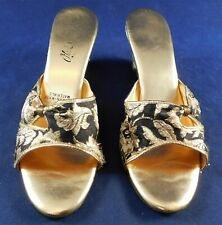 Vintage Ohrbach's 1960s Black Gold Lame Silk Brocade Wedge Mules Shoes Slippers