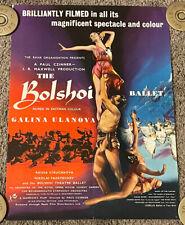 Vtg 1957 Bolshoi Ballet English Half Crown Movie Poster, 17x22, Galina Ulanova
