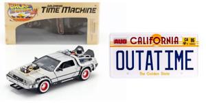 DeLorean Retour vers le Futur 3 + La Plaque du Film 1/24 Diecast Voiture PF10