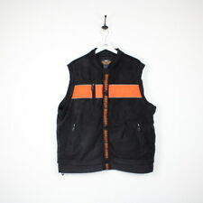 Vintage HARLEY DAVIDSON Biker Reflective Vest Fleece Jacket Black Orange | XL