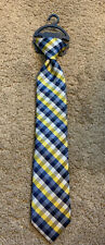 Nwt Boys Chaps Navy/Yellow Check Capri Clip-On Tie, O/S