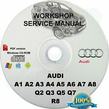 Audi A1 A2 A3 A4 A5 A6 A7 A8 Q2 Q3 Q5 Q7 R8 Factory OEM Workshop Service manual
