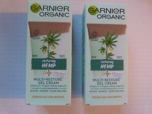 **2 x Garnier Organic RESTORING HEMP MULTI-RESTORE Gel Cream-Seed Oil 50ML-NEW**