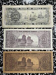 Lot of 2 1950's Korea 10 Won Banknotes & 1960's 500 Won Note Lot#A919