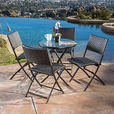 Contemporary Outdoor 5-piece Multi-Brown Wicker Folding Dining Set