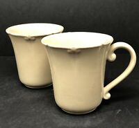Vintage Set of 2 Casa Stone by Casafina Port Mocha Tan Coffee Cup Mugs Stoneware