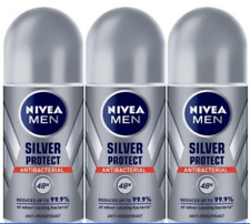 3 x Nivea Men Silver Protect Anti-Bacterial Roll On Deodorant 50ml