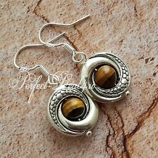 925 Sterling Silver hook Tiger's Tigers Eye Stone Round Tibetan Dangle Earrings