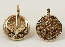 Set of 2 RING & EARRINGS, 9K Solid Gold, Multi-coloured Sapphires, Handmade
