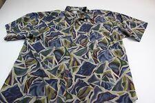 High Advantage 100% Silk Artwork Short Sleeve Button Front Shirt Large L