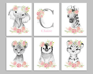 Black And White Personalised Safari Animals With Pink Flowers Nursery Art Prints