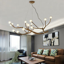 Modern Glass Globe Chandelier Wood Branch Tree Branch Light Ceiling Fixtures New