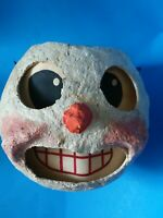 Vintage Primitive Snowman Head Jack O Lantern Style Paper Mache Treat Bucket