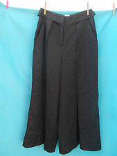 WITCHERY BLACK VISCOSE MIX PLEATED AND FLARED PANTS-SZ 8 AS NEW