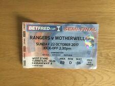 Rangers v Motherwell Match Ticket League Cup Semi Final 22 October 2017