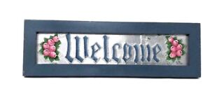 "Hand-Painted WELCOME Sign 17.25""W Floral Pink Roses Rustic Country Distressed"