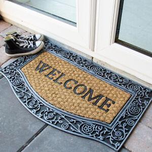 Natural Coir Welcome Doormat   Rubber Bordered Mat   Heavy Duty Non Slip Mats UK