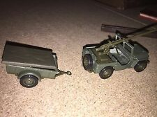 SOLIDO 1/43 METAL MILITAIRE JEEP Willys+Canon+REMORQUE 6157!!!!!!!!!