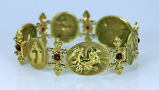 TAGLIAMONTE 18K Gold Ruby Classic Collection Cameo Bracelet 31.5gr
