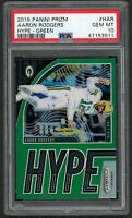 Aaron Rodgers Packers 2019 Panini Prizm Green Hype Football Card #H-AR PSA 10