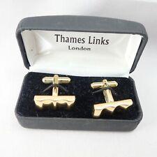 Vintage Thames Links London Gold Tone Wavy Bar Cuff Links Orig Box