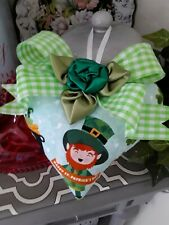 Shabby Happy St. Patricks Day Shamrocks Decorative Heart Ornament