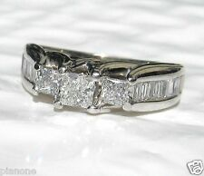 1.00 Ct 3-Stone Princess Cut Diamond Ring 14k White Gold Engagement, Anniversary