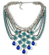 "NIB DJ by DANNIJO Crystal & Stone Multistrand 16"" Bib Necklace-Sapphire & Aqua"