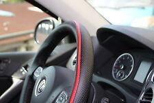 Black + Red PVC Leather Steering Wheel Wrap Cover w/ Needle Thread DIY Audi BMW