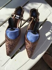 """Sandles  """"K' Brown Embellished sequin /satIn sling Back Kitten Heels New Sz 7"""