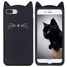 for iPhone 8+ Plus - Soft Silicone Rubber Case Cover Black Cat Kitty Whiskers