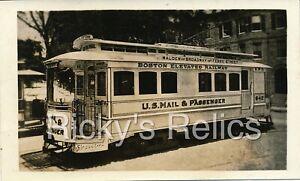 B&W Photo Boston Elevated Rwy #642 Trolley Boston MA 1920s US Mail Malden Brwy