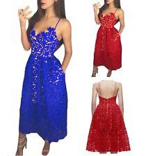 Sexy ed elegante abito cerimonia da donna scollo a V vestito lungo in pizzo da s