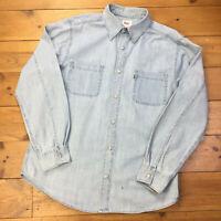 Levis Vintage Stonewash Faded Worn Denim Red Tab Metal Button Shirt - Size L XL