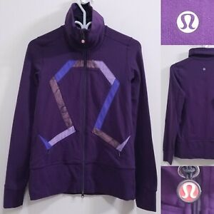 Lululemon Origami Stride Purple Stripe Zipper Sweater Size 6 Small Pink Jacket