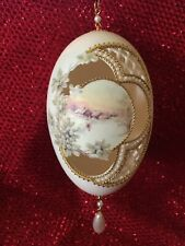 Vintage Christmas Hand Carved Goose Egg, Collectible, signed & dated 1996